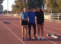 Robinik, Millanao junto a su entrenador en la pista de Mendoza